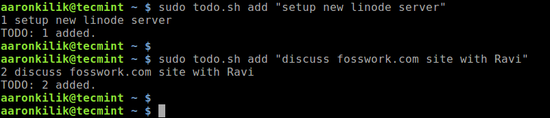 Add Todo Tasks in Linux Terminal