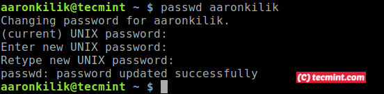 Change User Password in Ubuntu Terminal