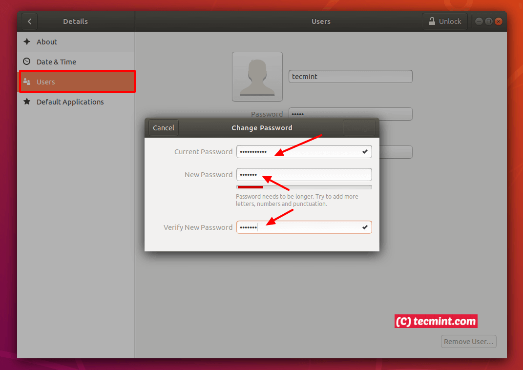Change User Password in Ubuntu