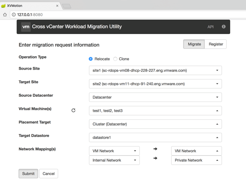 Cross vCenter Workload Migration Utility