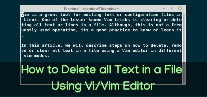 Delete all Text in a File Using Vi Editor