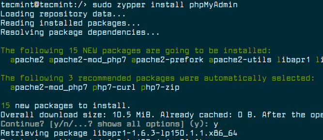 Install PhpMyAdmin in OpenSuse