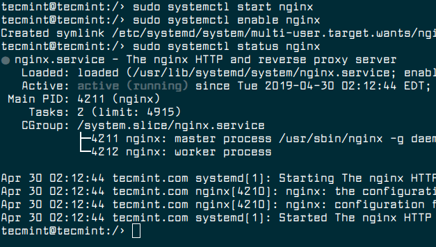 Start, Enable and Verify Nginx
