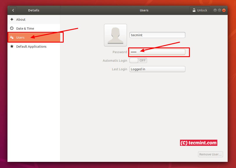 Ubuntu User Details