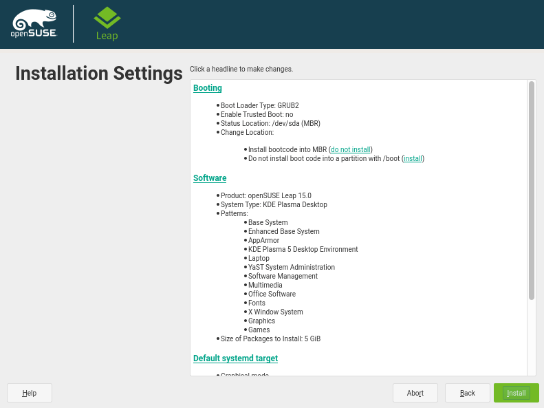 Confirm Installation Settings