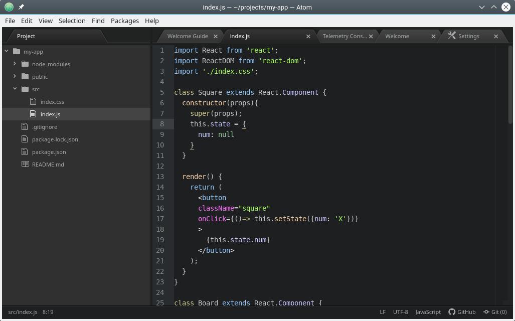 Coding in Atom Editor