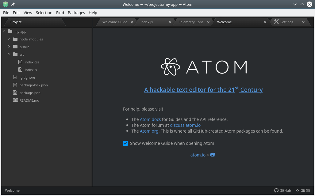 Atom Text Editor in OpenSuse