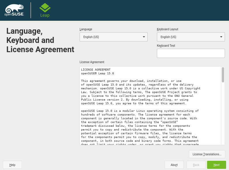 Select Language, Keyboard and License Agreement