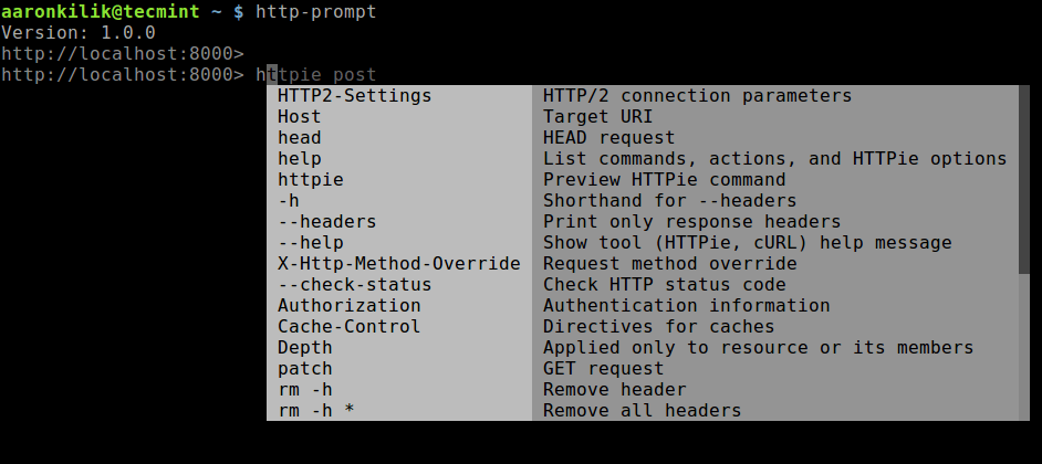 HTTP Prompt Command Usage