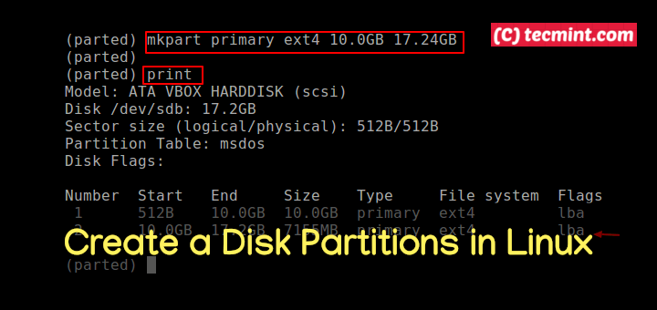 Create a Disk Partitions in Linux