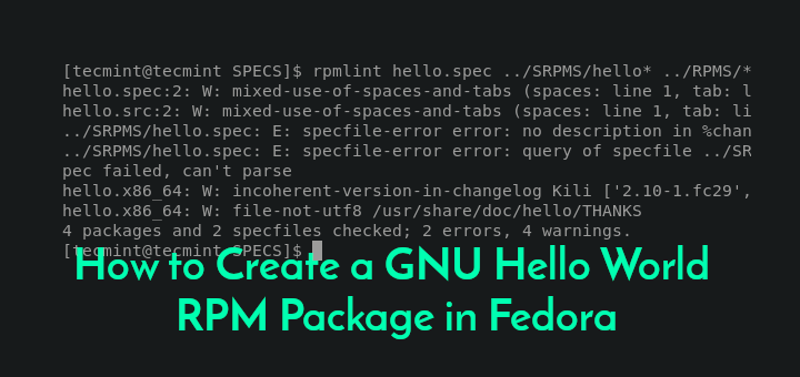 Create Hello World RPM Package in Fedora