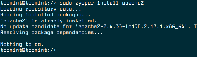 Install Apache in OpenSuse