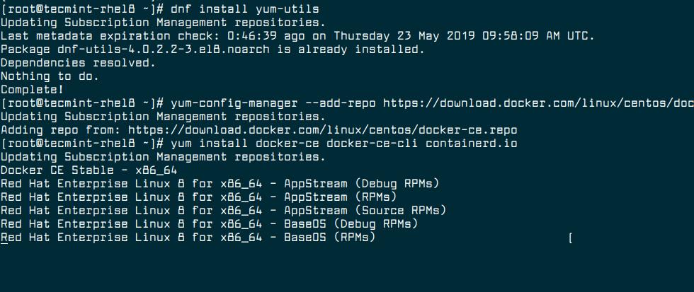Install Docker in RHEL 8
