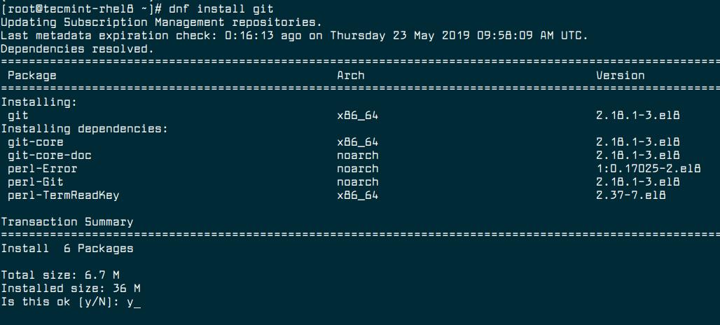 Install Git in RHEL 8