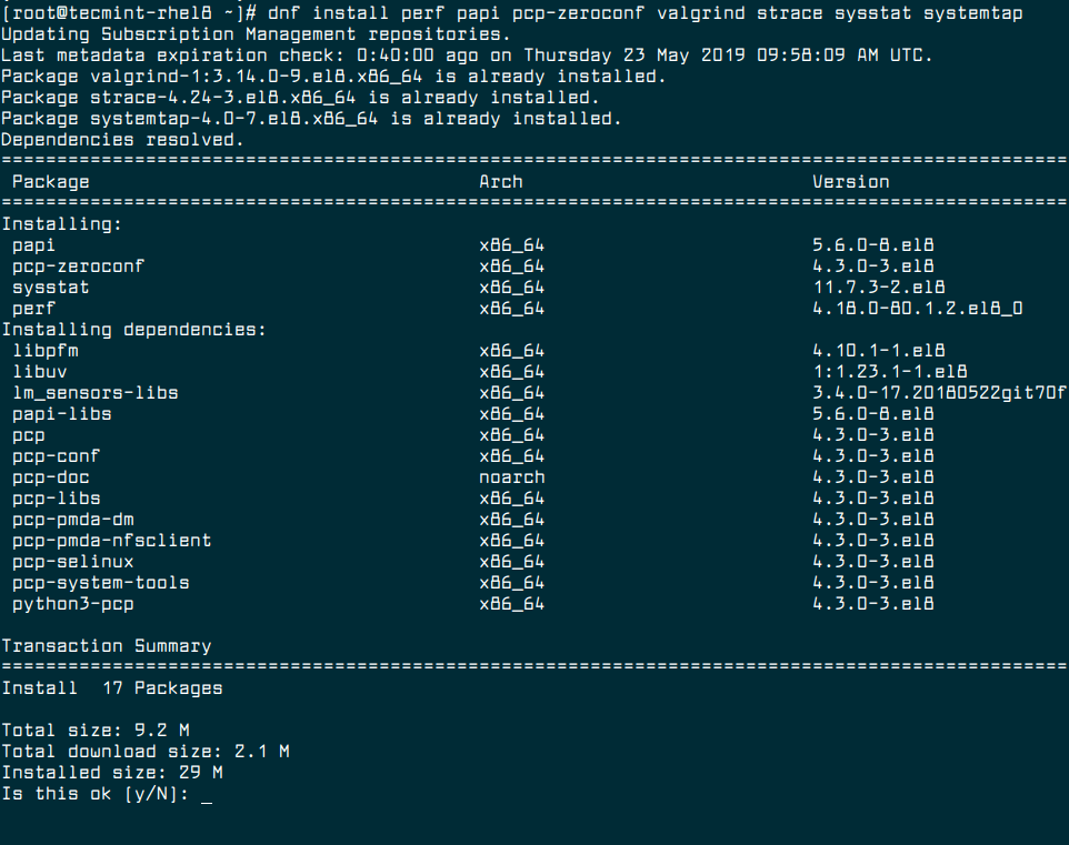 Install Performance Tools in RHEL 8