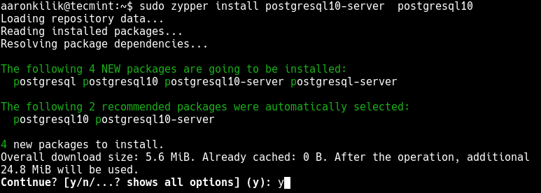 Install PostgreSQL on OpenSuse