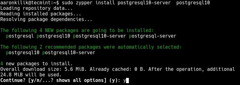 Install PostgreSQL on OpenSuse