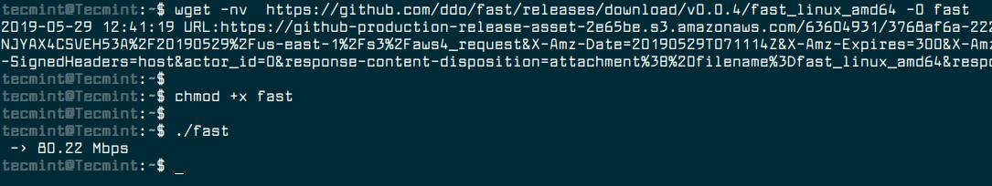 Linux Server Internet Speed Test
