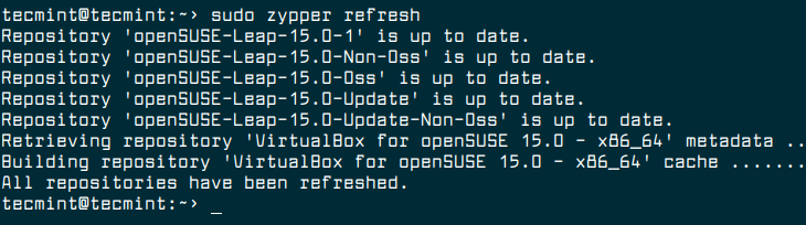 Refresh Repository in OpenSuse