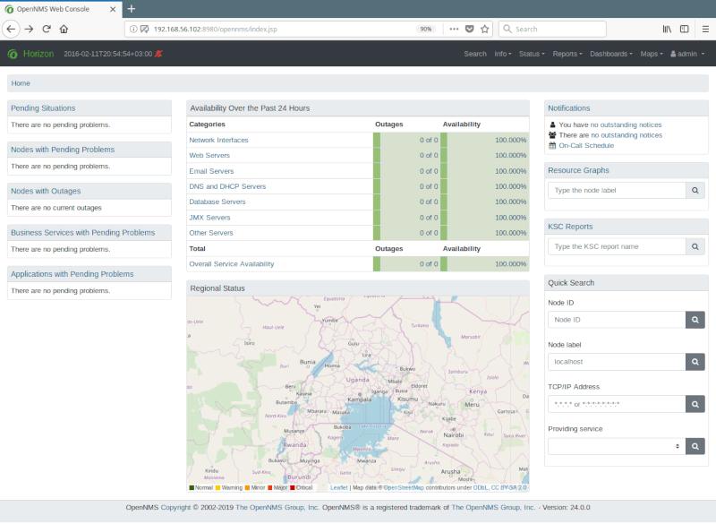 OpenNMS Default Admin Dashboard
