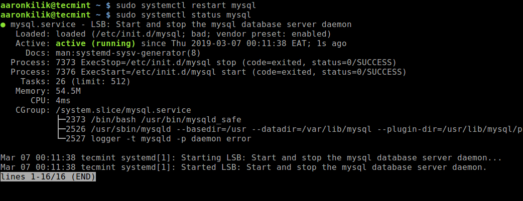 Restart MySQL and Verify Status