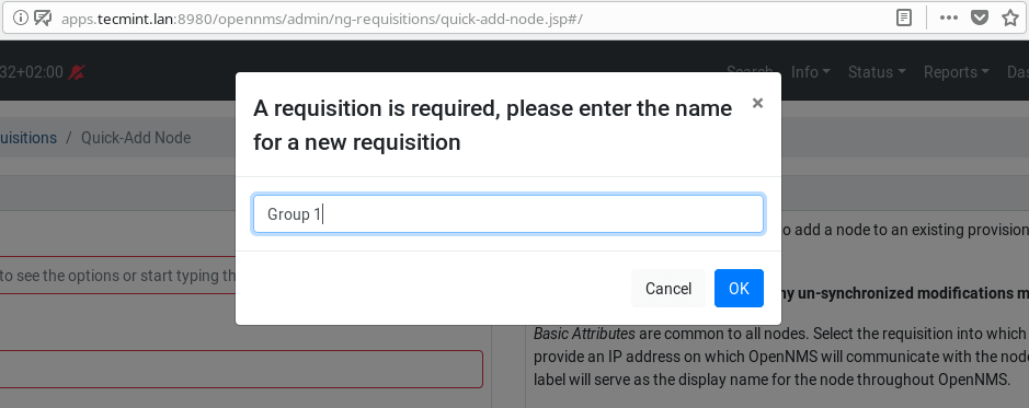 Add Requisition in OpenNMS