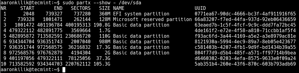 List All Partitions on a Disk