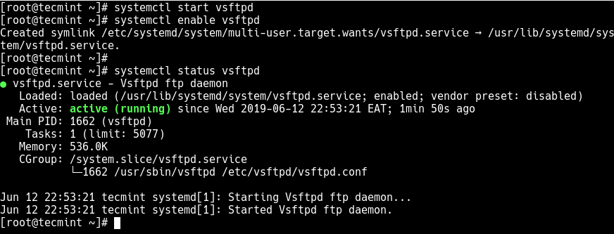 Start and Verify FTP Service