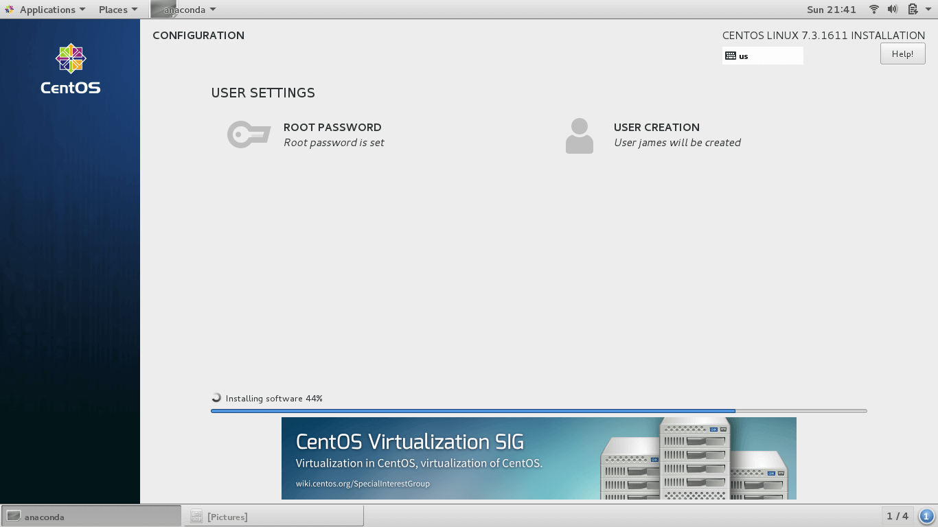 CentOS 7 Installation Progress