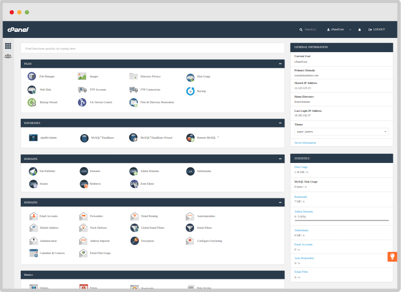 Cpanel Server Control Panel