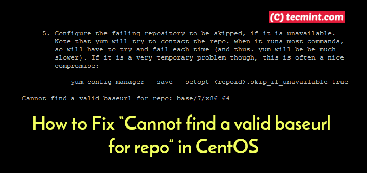 Fix Cannot Find Valid Baseurl for Repo