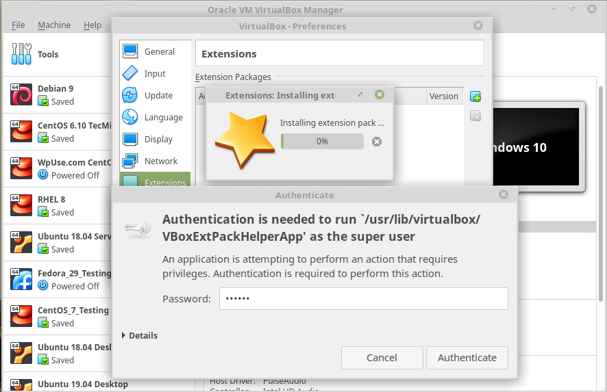 Installing Virtualbox Extension Pack