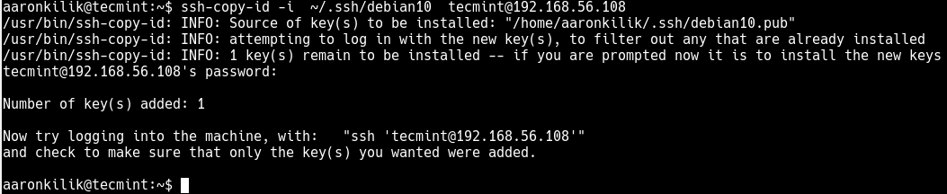 Copy SSH Key to Debian 10