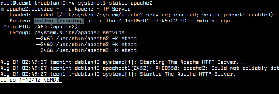 Check Apache Status in Debian 10