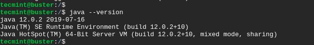 Check Java in Debian 10