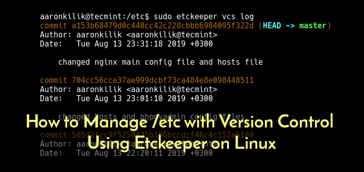Manage /etc with Version Control Using Etckeeper