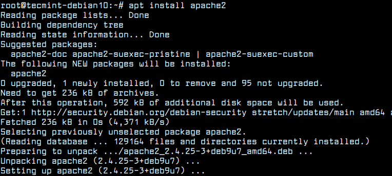 Install Apache on Debian 10