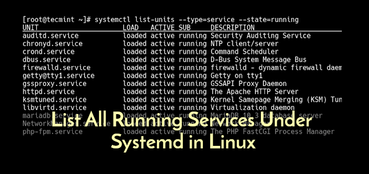 List Systemd Running Services in Linux
