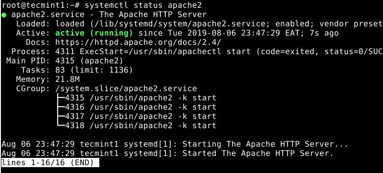 Check Apache2 Status