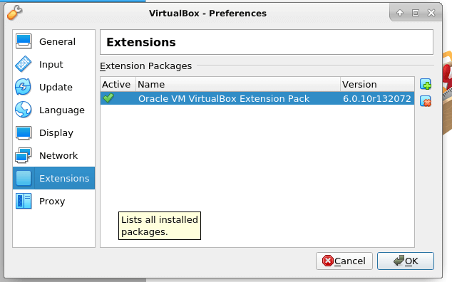 Check VirtualBox Extension Pack