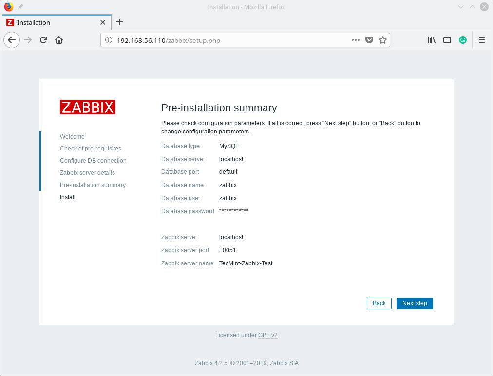 Zabbix Pre-Installation Summary