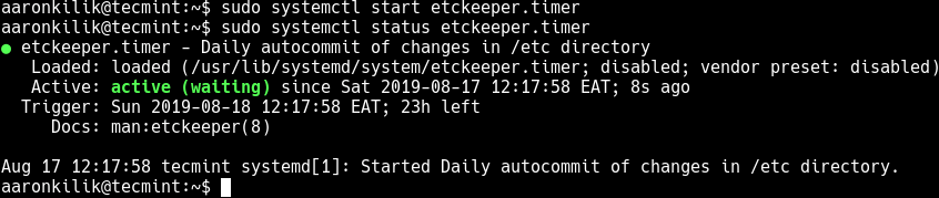 Start Etckeeper Timer Unit