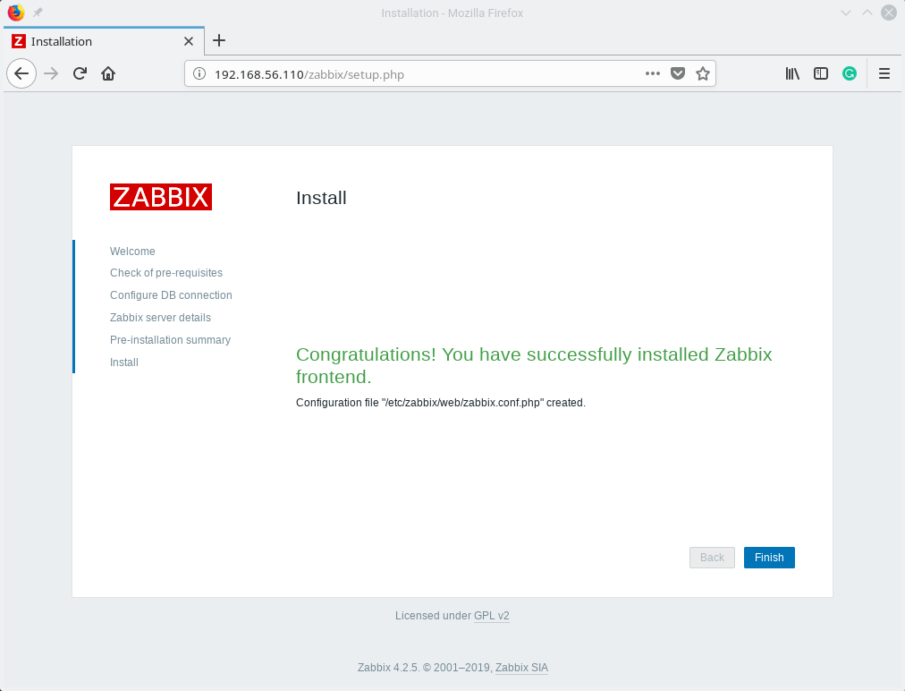 Zabbix Frontend Installed