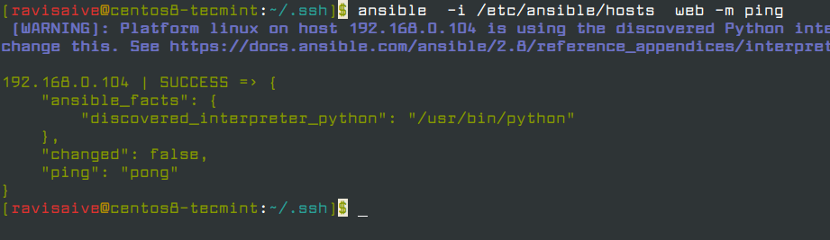 Ansible Ping Remote Host