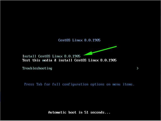 CentOS 8 Boot Menu