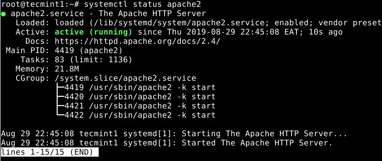 Check Apache Status in Debian