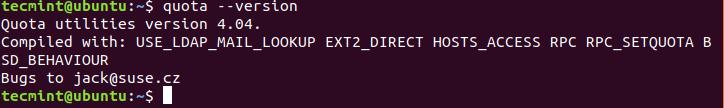 Check Quota Version in Ubuntu