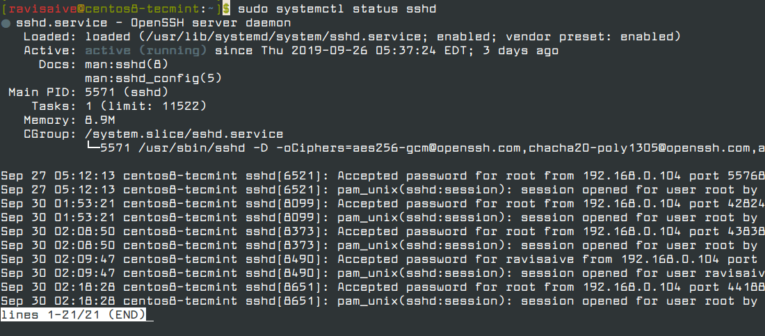 Check SSH Status in CentOS and RHEL 8