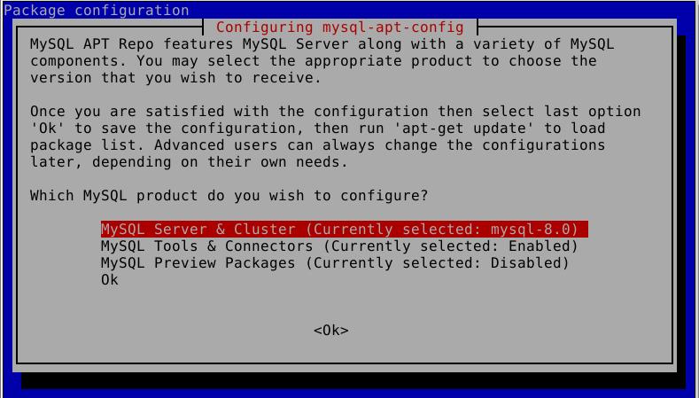 Configure MySQL APT