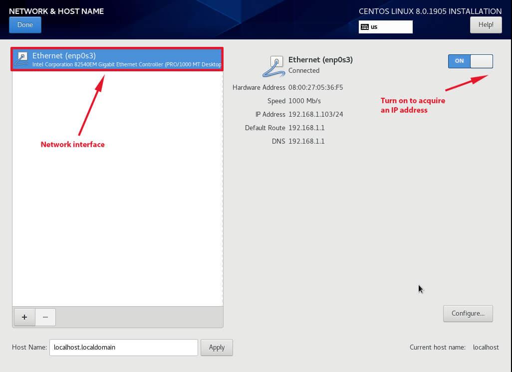 Configure Network Interface